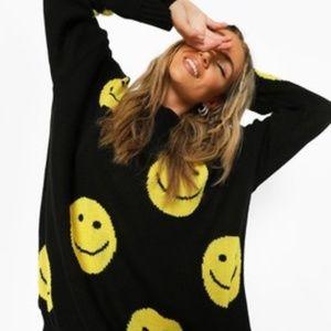 Oversized Happy Face Sweatshirt Medium